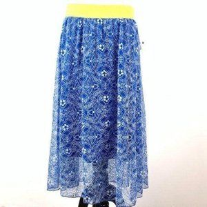Lularoe Lola skirt L 12-14 blue yellow elastic
